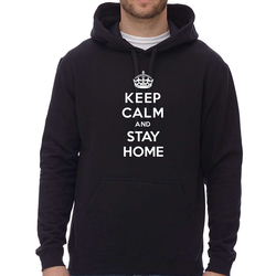 COTON OUATÉ À CAPUCHON UNISEXE - KEEP CALM AND STAY HOME